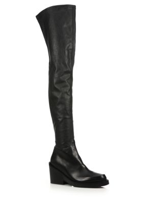 Leather Over-The-Knee Chunky Heel Boots