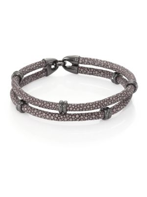STINGHD Blackened Silver & Stingray Wrap Bracelet