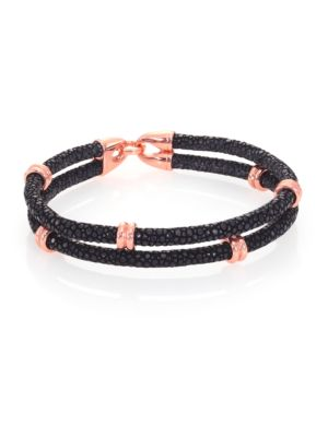 18K Rose Goldplated & Stingray Wrap Bracelet