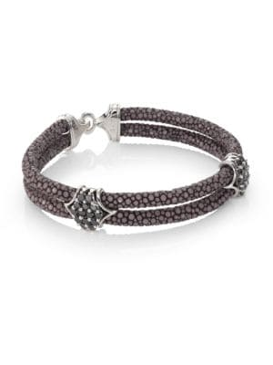Black Diamond, Silver & Stingray Peaked Wrap Bracelet