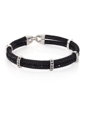 STINGHD Black Diamond, Silver & Stingray Wrap Bracelet
