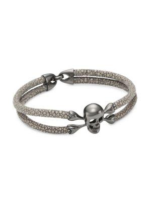 Blackened Silver & Stingray Skull Wrap Bracelet