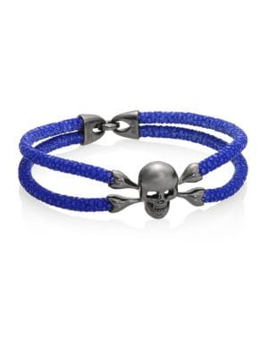 STINGHD Blackened Silver & Stingray Skull Wrap Bracelet