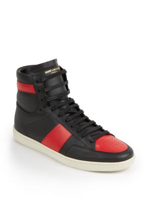 Colorblocked Leather High-Top Sneakers