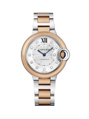 Ballon Bleu de Cartier Diamond, 18K Rose Gold & Stainless Steel Bracelet Watch