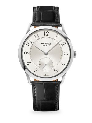 Slim D'Hermès GM Stainless Steel & Alligator Strap Watch