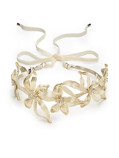 Mesh Botanical Swarovski Crystal-Embellished Headband $166.69 AT vintagedancer.com