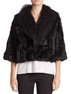Adrienne Landau - Rabbit & Mongolian Lamb Fur Cropped Jacket
