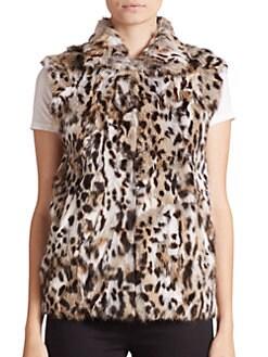 Adrienne Landau - Animal-Print Rabbit Fur Vest
