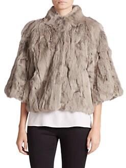 Adrienne Landau - Cropped Textured Rabbit Fur Jacket
