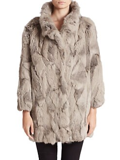 Adrienne Landau - Textured Rabbit Fur Coat <br>