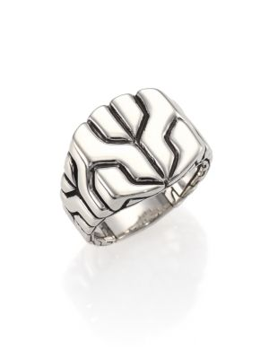 Classic Chain Sterling Silver Square Ring