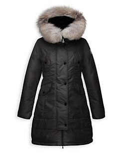 Moncler - Girl's Arrious Fur-Trimmed Long Coat