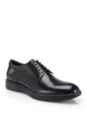 Leather Plain-Toe Derby Shoes