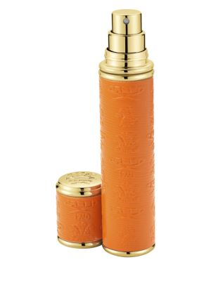 Refillable Leather & Goldtone Trim Pocket Atomizer/Orange