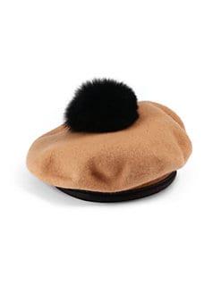 Eugenia Kim - Hadley Wool & Fox Fur Pom Pom Beret