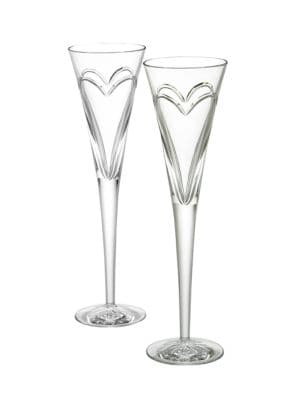 Wishes Love & Romance Crystal Toasting Flutes/Set Of 2