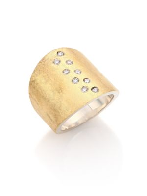 Diamond, 18K Yellow Gold & Sterling Silver Wide Band Ring