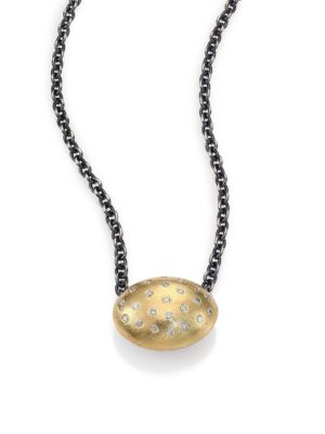 RENE ESCOBAR Diamond, 18K Yellow Gold & Sterling Silver Oval Pendant Necklace
