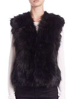 Adrienne Landau - Textured Rabbit & Fox Fur Vest
