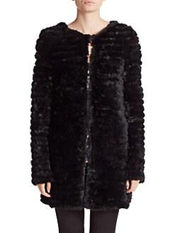 Adrienne Landau - Knit Rabbit Fur Coat