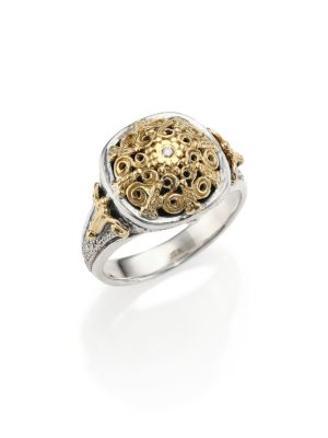 Classic Diamond, 18K Yellow Gold & Sterling Silver Petite Ring