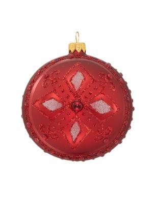 Floral Embellished Glass Ball Ornament