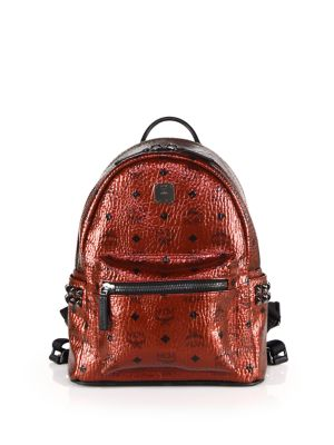 mcm female 250960 stark side stud small coated canvas backpack
