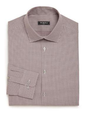Modern Regular-Fit Mini Houndstooth Check Patterned Dress Shirt