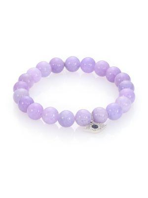 Diamond, Lavender Jade & 14K White Gold Evil Eye Beaded Stretch Bracelet