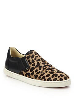 Christian Louboutin - Master Key Leopard-Print Calf Hair & Leather Slip-On Sneakers