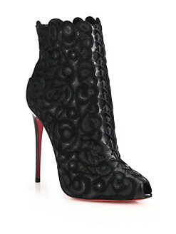 Christian Louboutin - Indiboot Embroidered Suede Booties