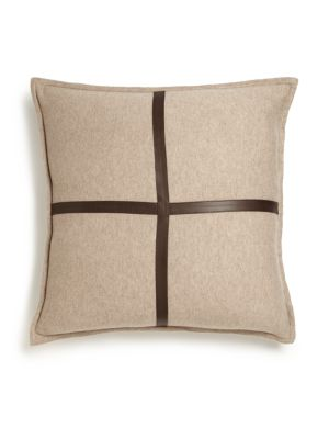 Sardinia LeatherTrimmed Cashmere Pillow