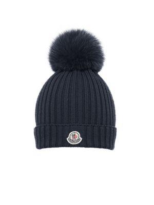 Toddler's & Girl's Fox Fur Pom-Pom Berretto Wool Snow Hat