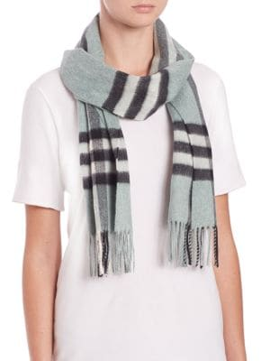 Light Green Giant Check Cashmere Scarf