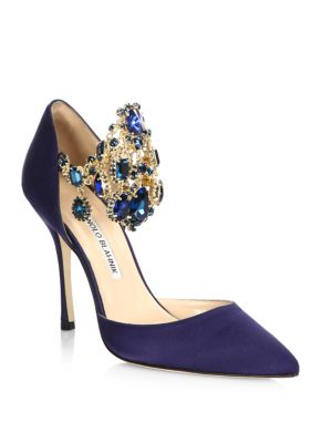 Zullin Jewel-Cuff Satin Pumps