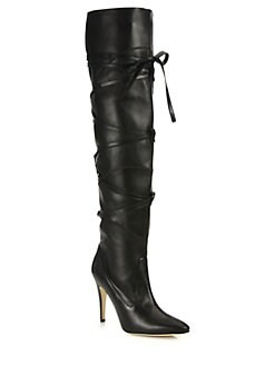 223a9e38812 Manolo Blahnik Cavaba Lace-Up Leather Over-The-Knee Boots