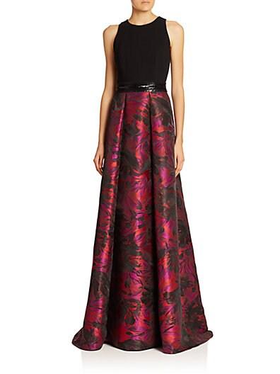 Knit-Top Brocade Gown $879.25 AT vintagedancer.com