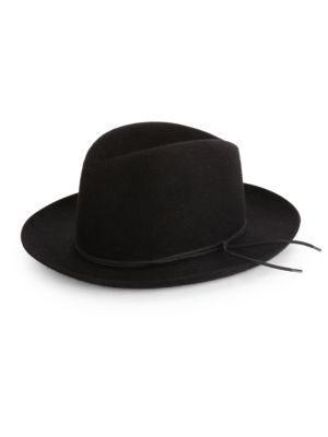 BARBISIO Felted Rabbit Wide-Brim Fedora