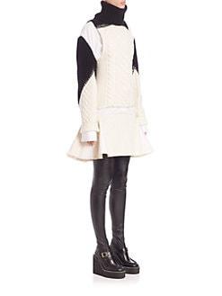 Sacai - Mixed-Media Sweater Dress