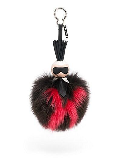 Karlito Fox Fur & Leather Pom-Pom Charm