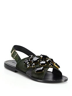 72b0ae8072 Marni Jeweled Calf Hair Crisscross Sandals