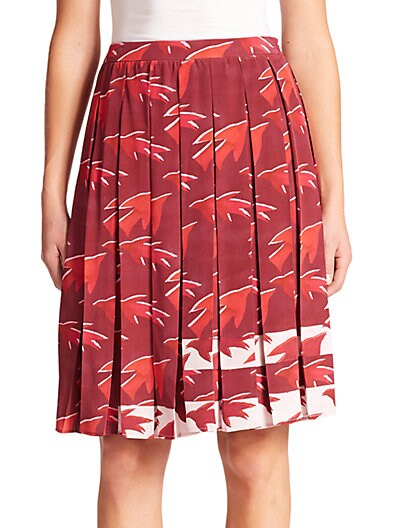Celia Sparrow-Print Silk Pleated Skirt