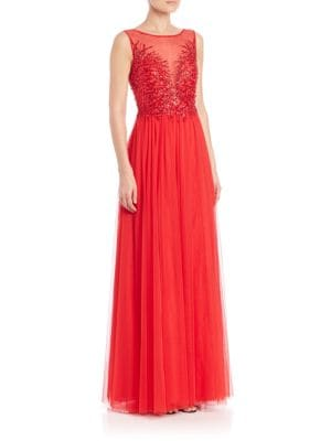 Sequined Illusion Front Gown