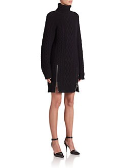 Alexander Wang - Zip Accent Turtleneck Sweater Dress