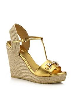 fc5a1048749 Gucci Metallic Leather Horsebit Espadrille Wedge Sandals