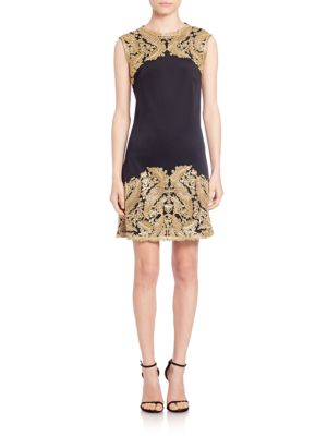 Metallic Lace-Trimmed Neoprene Dress