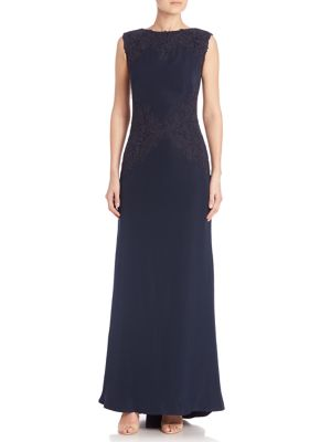 Metallic Lace-Trimmed Crepe Gown
