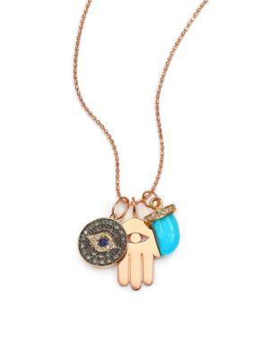 Turquoise, Sapphire, Multicolor Diamond & 14K Rose Gold Spiritual Trio Charm Necklace