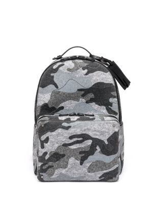 Camouflage-Print Felt & Leather Backpack
